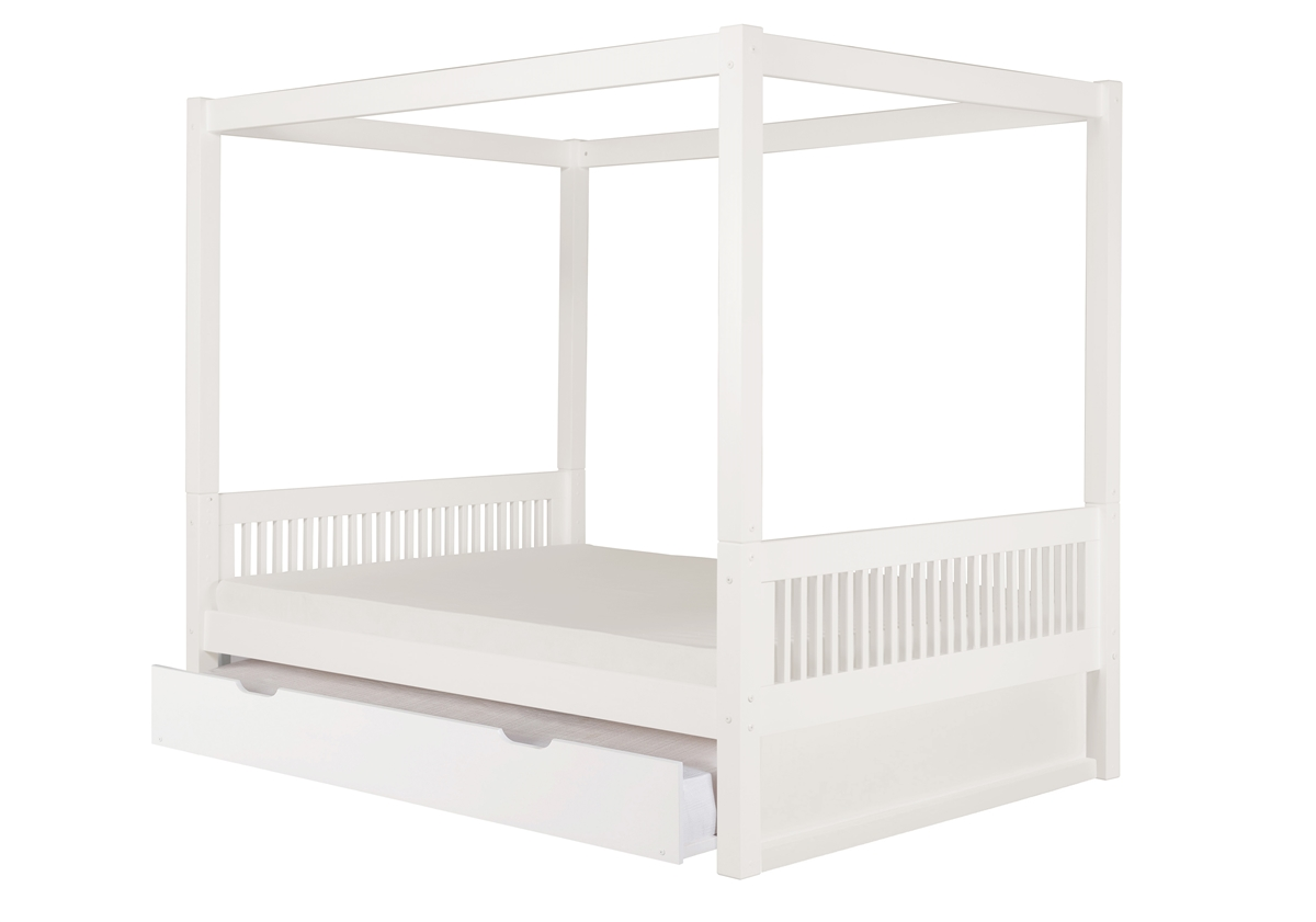 Camaflexi Full Size Canopy Bed With Twin Trundle Mission Headboard White Finish