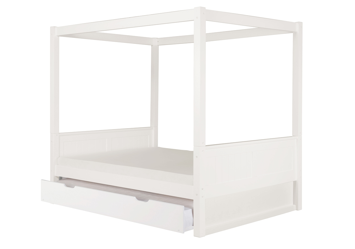 Camaflexi Full Size Canopy Bed With Twin Trundle Panel Headboard White Finish