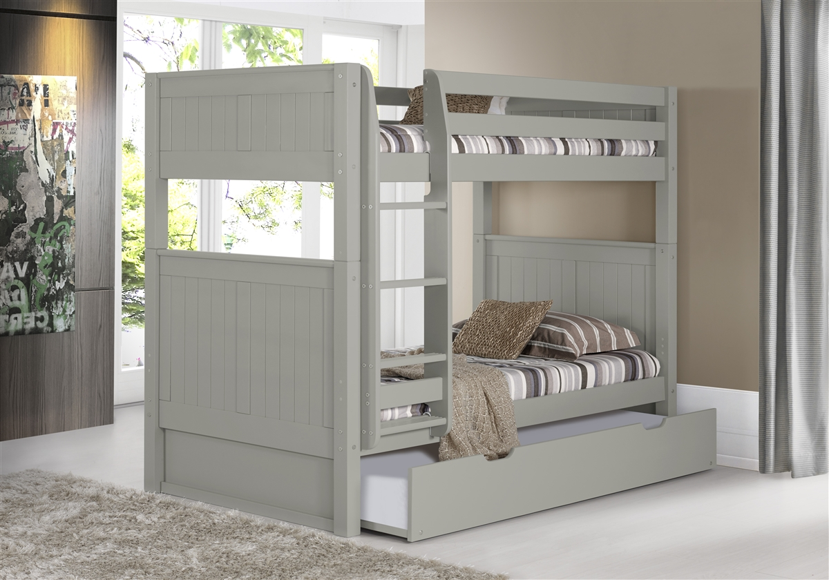 Bunk Bed With Trundle Panel Headboard Grey