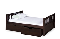Expanditure Twin Bed With Drawers- Mission Headboard - Cappuccino