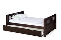 Expanditure Twin Bed With Twin Trundle - Mission Headboard - Cappuccino