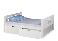 Expanditure Twin Bed With Drawers - Mission Headboard - White