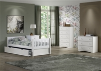 Expanditure Twin Bed With Twin Trundle- Mission Headboard - White