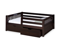 Expanditure Day Bed with Guard Rail & Drawers - Mission Style - Cappuccino