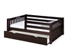 Expanditure Day Bed With Guard Rail & Trundle - Mission Style - Cappuccino