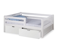 Expanditure Day Bed with Guard Rail & Drawers- Mission Style - White