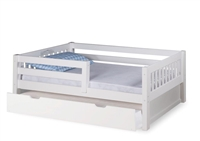 Expanditure Day Bed with Guard Rail & Twin Trundle - Mission Style - White