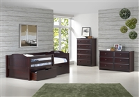 Expanditure Day Bed with Guard Rail & Drawers- Panel Style - Cappuccino