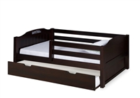 Expanditure Day Bed with Guard Rail & Trundle - Panel Style - Cappuccino