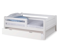 Expanditure Day Bed with Guard Rail With Twin Trundle - Panel Style - White