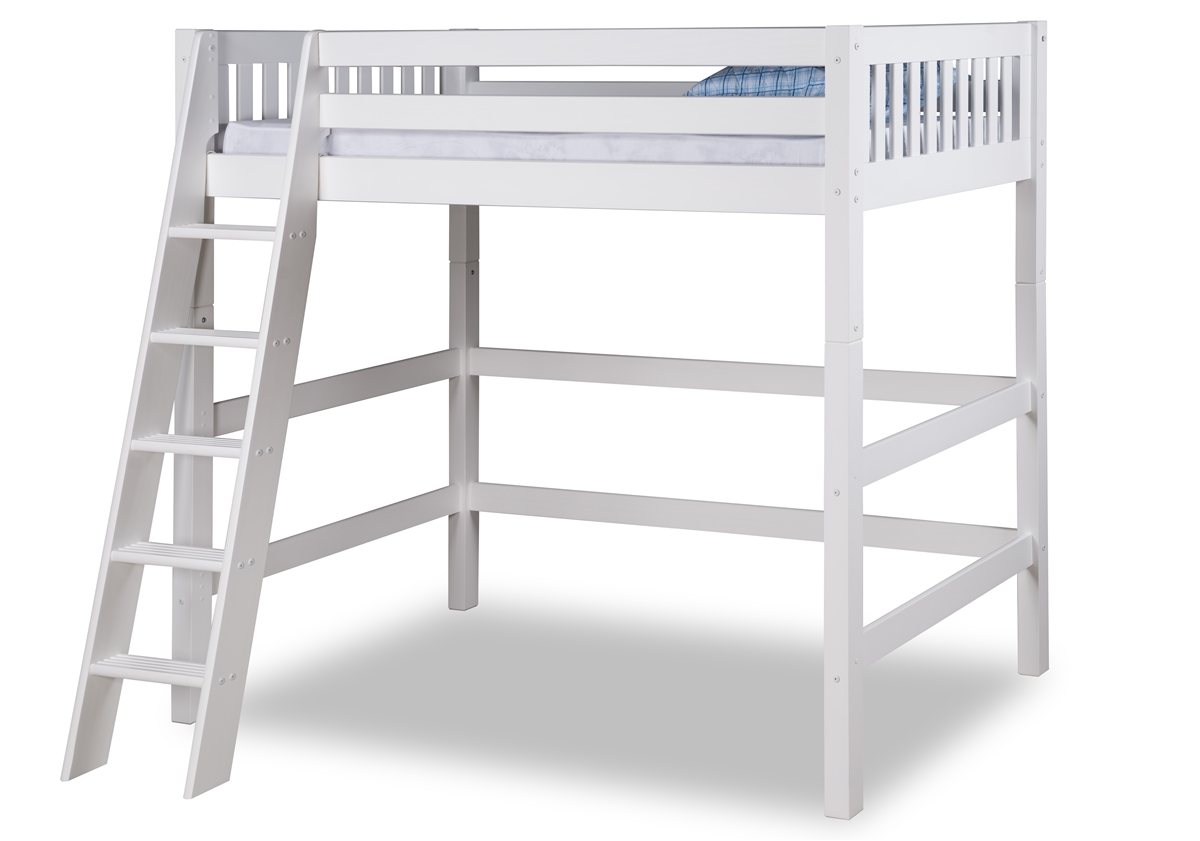 Expanditure High Loft Bed Twin Size Mission Headboard White