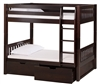 High Bunk Bed ,With Conversion Kit & Drawers Mission Style - Cappuccino