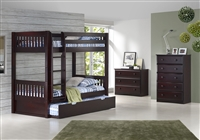 High Bunk Bed - With Conversion Kit & Twin Trundle- Mission Style - Cappuccino