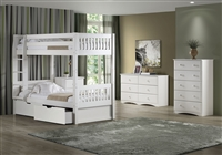 High Bunk Bed - With Conversion Kit & Drawers - Mission Style - White