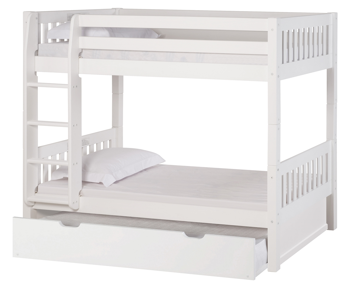High Bunk Bed With Conversion Kit Trundle Mission Style White