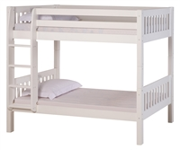 High Bunk Bed - With Conversion Kit - Mission Style - White