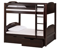 High Bunk Bed - With Conversion Kit & Drawers - Panel Style - Cappuccino