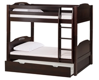 High Bunk Bed - With Conversion Kit & Twin Trundle Panel Style - Cappuccino