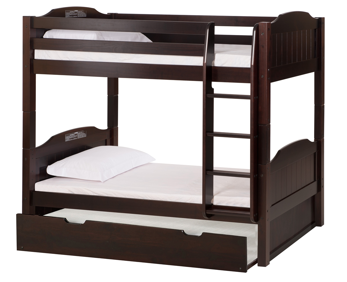 High Bunk Bed With Conversion Kit Twin Trundle Panel Style