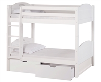 High Bunk Bed - With Conversion Kit & Drawers- Panel Style - White