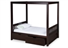 Expanditure Twin Canopy Bed With Drawers - Mission Style - Cappuccino