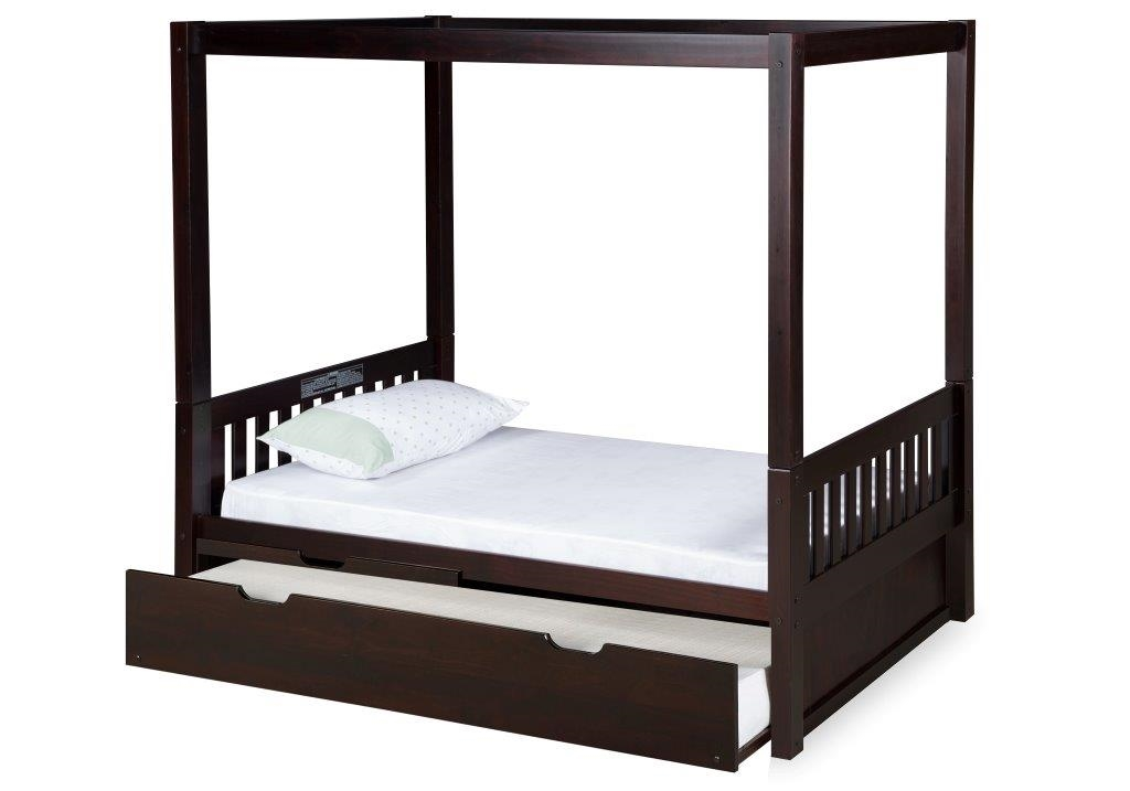 Larger Photo  sc 1 st  Planet Bunk Bed & Twin Canopy Bed With Trundle - Mission Style - Cappuccino
