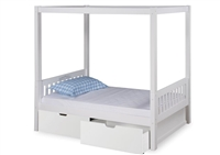 Expanditure Twin Canopy Bed With Drawers - Mission Style - White