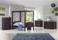 Expanditure Twin Canopy Bed - Panel Style - Cappuccino