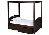 Expanditure Twin Canopy Bed With Drawers - Panel Style - Cappuccino