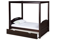 Expanditure Twin Canopy Bed With Twin Trundle - Panel Style - Cappuccino