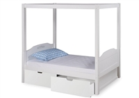 Expanditure Twin Canopy Bed With Drawers - Panel Style - White
