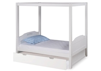 Expanditure Twin Canopy Bed With Trundle - Panel Style - White