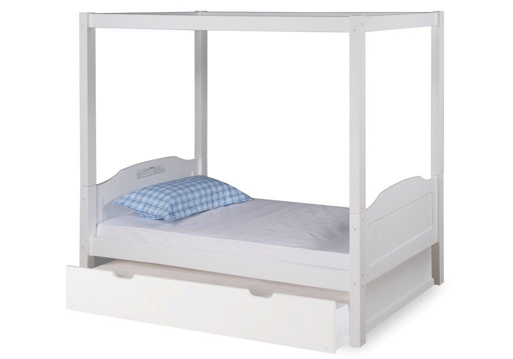 Expanditure Twin Size Canopy Bed With Trundle Panel Headboard White Finish