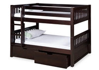 Expanditure Low Bunk Bed With Drawers - Attached Ladder - Mission Style - Cappuccino