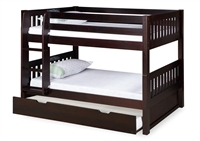 Expanditure Low Bunk Bed With Twin Trundle - Attached Ladder - Mission Style - Cappuccino