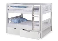 Expanditure Low Bunk Bed With Drawers - Attached Ladder - Mission Style - White
