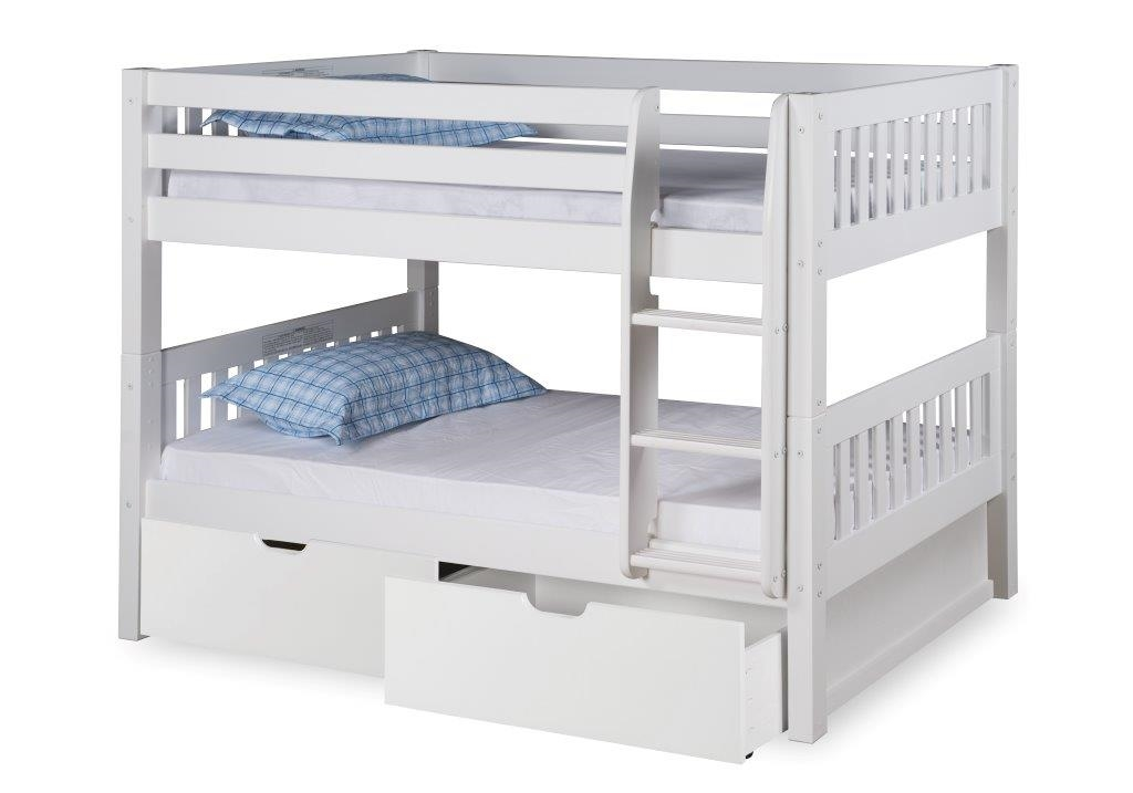 Expanditure Twin Over Twin Low Bunk Bed With Drawers Attached Ladder Mission Headboard White Finish