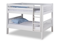 Expanditure Low Bunk Bed - Attached Ladder - Mission Style - White