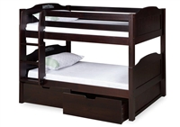 Expanditure Low Bunk Bed With Drawers - Attached Ladder - Panel Style - Cappuccino