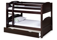 Expanditure Low Bunk Bed With Trundle - Attached Ladder - Panel Style - Cappuccino