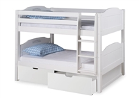 Expanditure Low Bunk Bed With Drawers - Attached Ladder - Panel Style - White