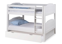 Expanditure Low Bunk Bed With Trundle - Attached Ladder - Panel Style - White