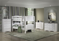 Expanditure Low Bunk Bed - Attached Ladder - Panel Style - White