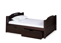 Expanditure Twin Bed With Drawers - Panel Headboard - Cappuccino