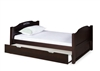 Expanditure Twin Bed With Twin Trundle - Panel Headboard - Cappuccino
