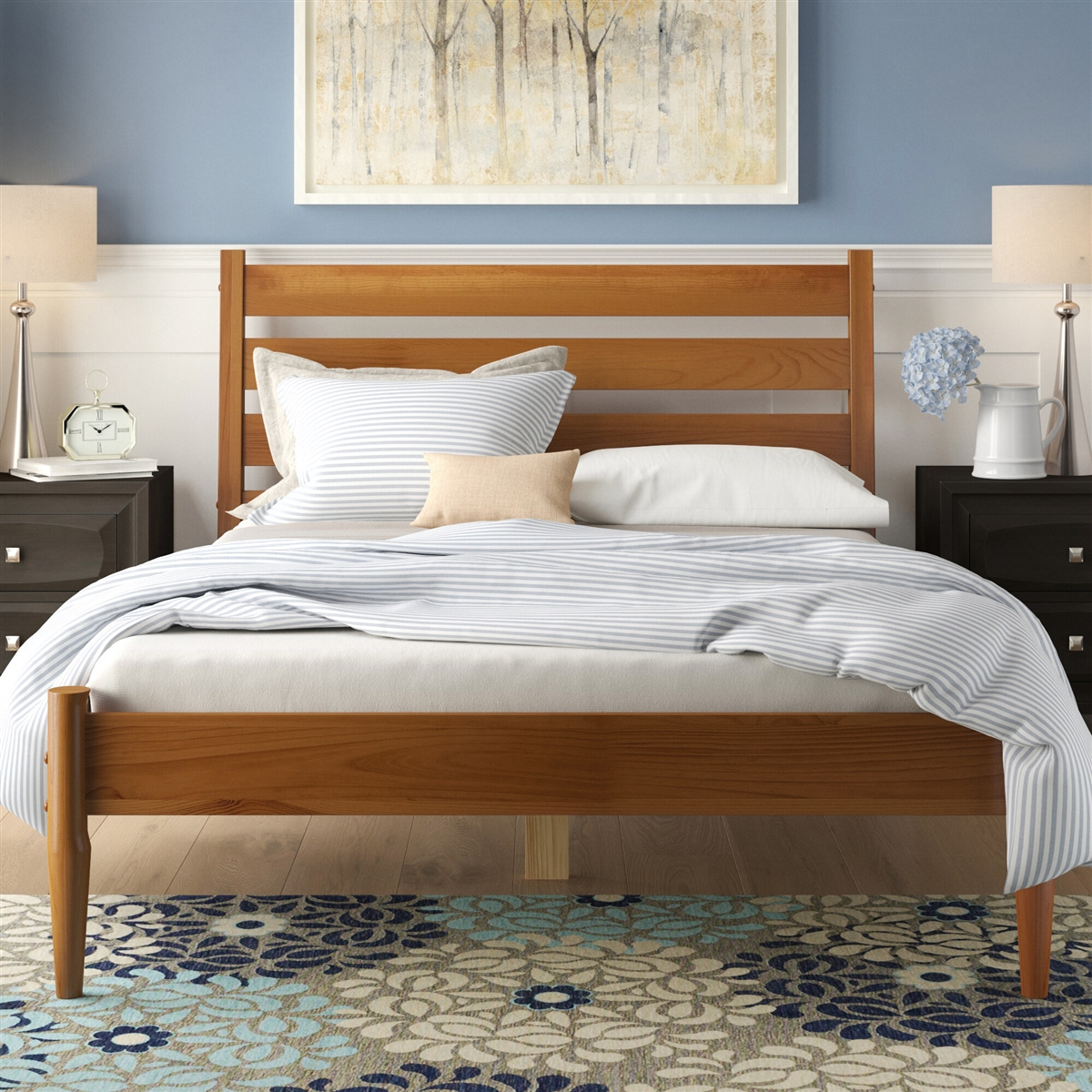 Image of: Mid Century Platform Bed Queen Size Castanho Finish