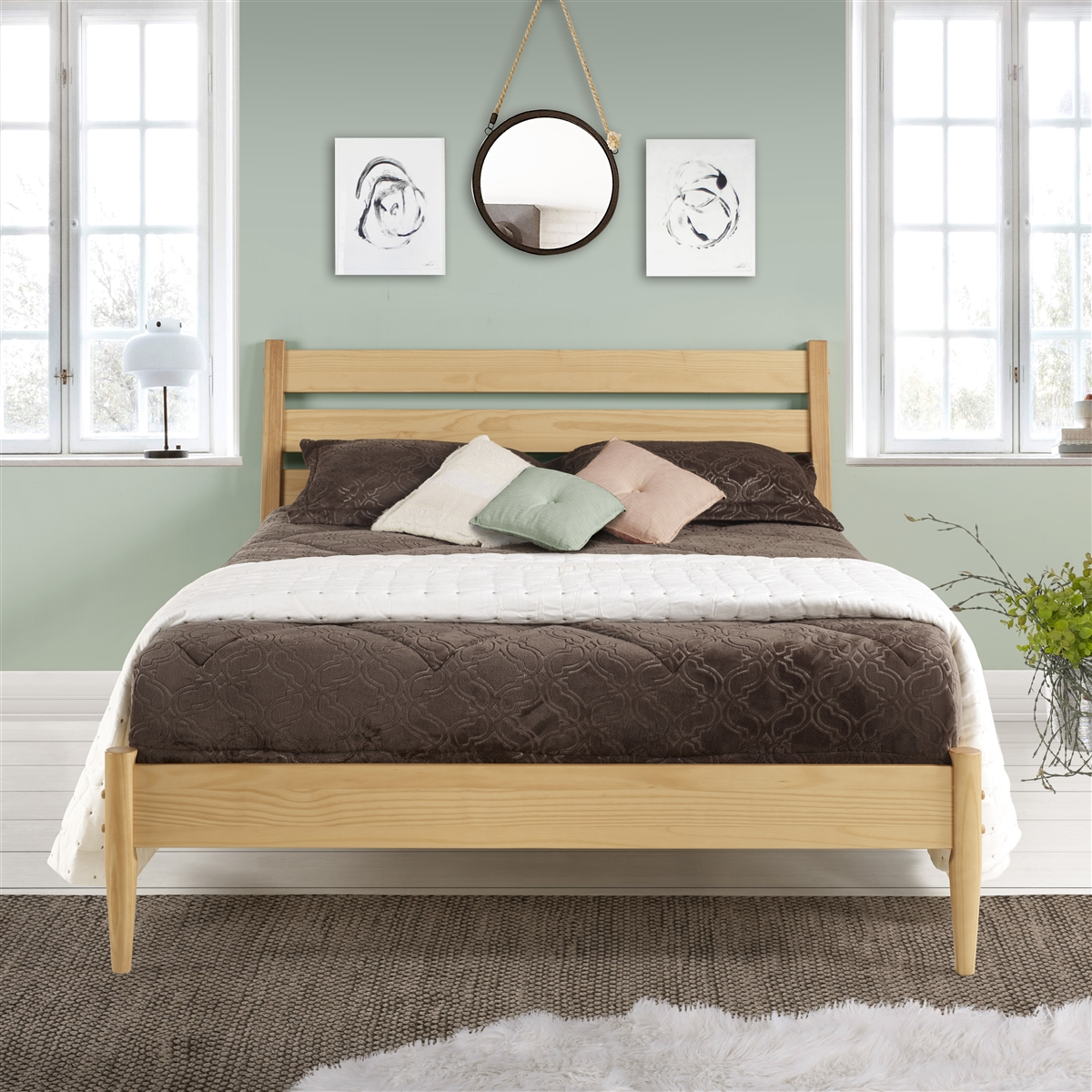 Picture of: Mid Century Platform Bed Queen Size Scandinavian Oak Finish
