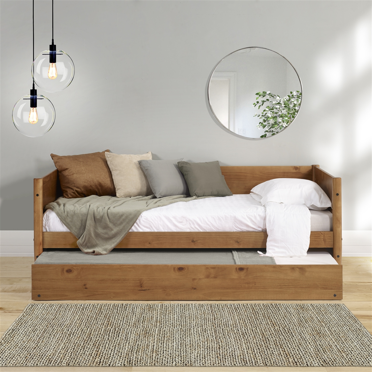 - Mid-Century Modern Twin Size Day Bed With Twin Trundle