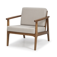 Mid-Century Modern Accent Chair - Beige Upholstery