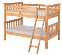 Santa Fe Mission Low Bunk Bed Twin over Twin - Angle Ladder - Natural Finish
